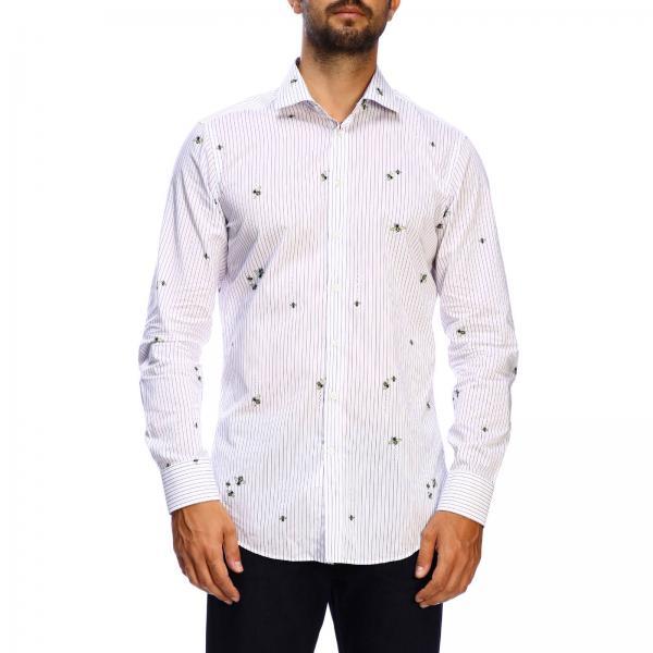 Camisa Etro micro rayas con abejas y cuello italiano