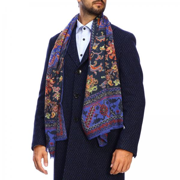 Etro cashmere and silk scarf with carpet pattern