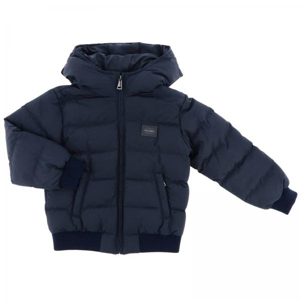 Dolce & Gabbana Quilted jacket with hood and logo
