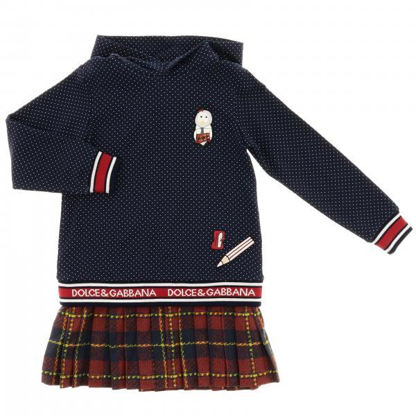 Robe sweat avec jupe tartan et bande logo Dolce & Gabbana