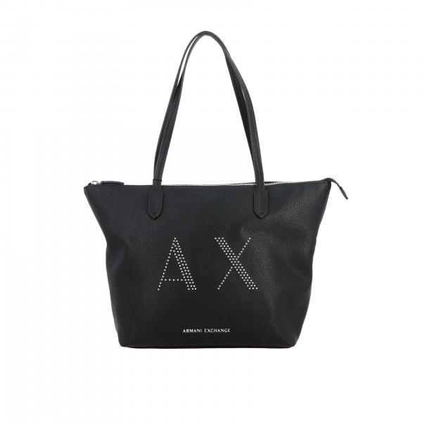 Borsa shopping Armani Exchange in pelle sintetica con logo di borchie