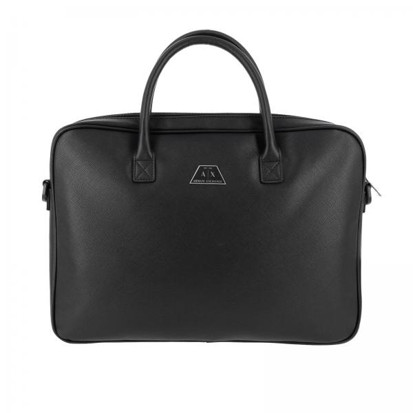 Armani Exchange work bag in saffiano synthetic leather with shoulder strap