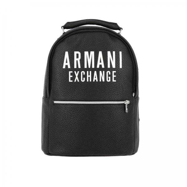 Armani Exchange synthetic leather backpack with big logo