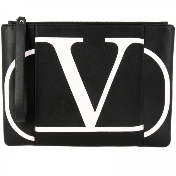 Valentino Garavani leather clutch bag with VLogo maxi print
