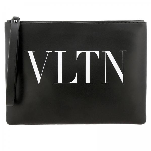 Valentino Garavani leather clutch bag with VLTN maxi print