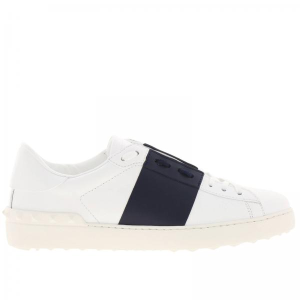 Open Rockstud lace-up genuine leather sneakers Valentino Garavani with contrasting band
