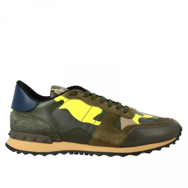 Valentino Garavani Rock runner camouflage suede and leather sneakers