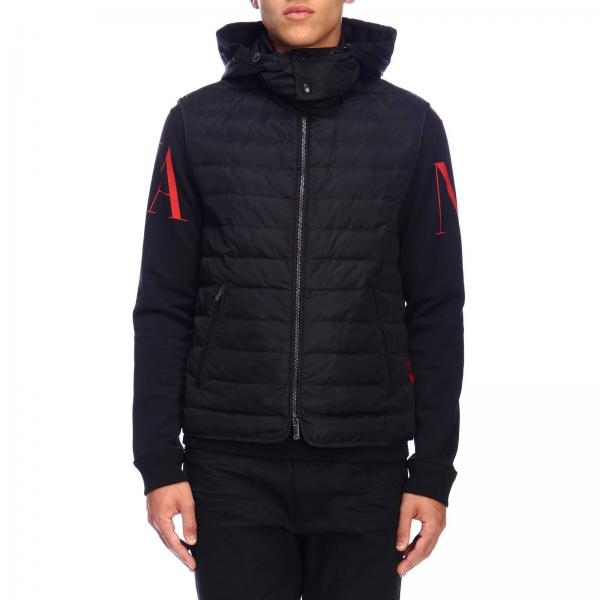Valentino quilted jacket in nylon with quilted hood and logo prin
