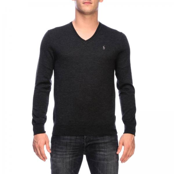 Slim fit V-neck sweater with embroidered Polo Ralph Lauren logo