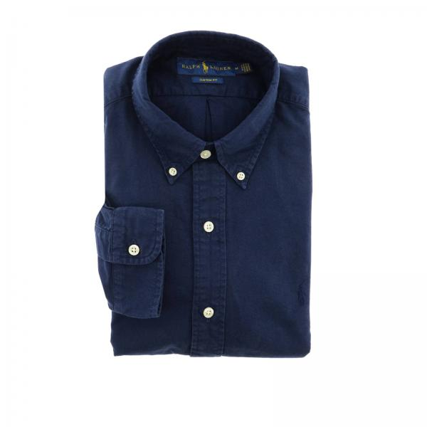 Custom fit Oxford shirt with button down collar and Polo Ralph Lauren logo
