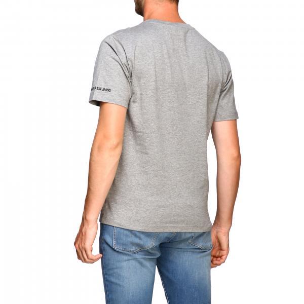 Jeans T Calvin Logo J30j312485 shirt GrigioCon Uomo Klein yNOv80wmn