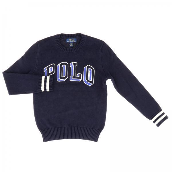 Pullover Polo Ralph Lauren Boy a girocollo in cotone con logo e bordi a righe