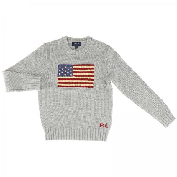 Pullover Polo Ralph Lauren Boy a girocollo con bandiera in jacquard