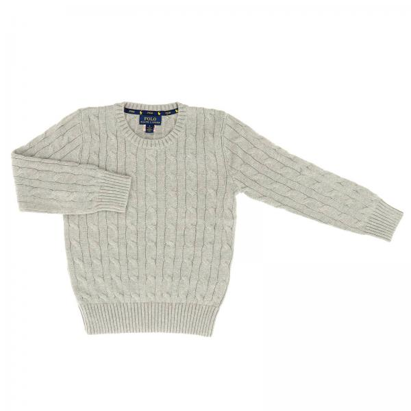 Pullover Polo Ralph Lauren Kid a girocollo in cotone a trecce con logo