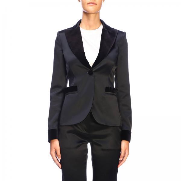 Veste Droite Moschino Couture avec un bouton et des détails en velours