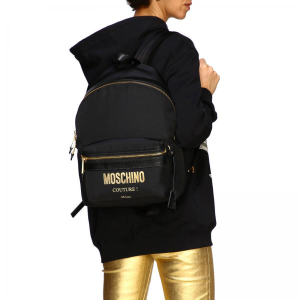 Moschino Maxi Donna Con Couture Logo 8205 Laminato Nylon NeroIn Zaino 7610 v8wN0nmO