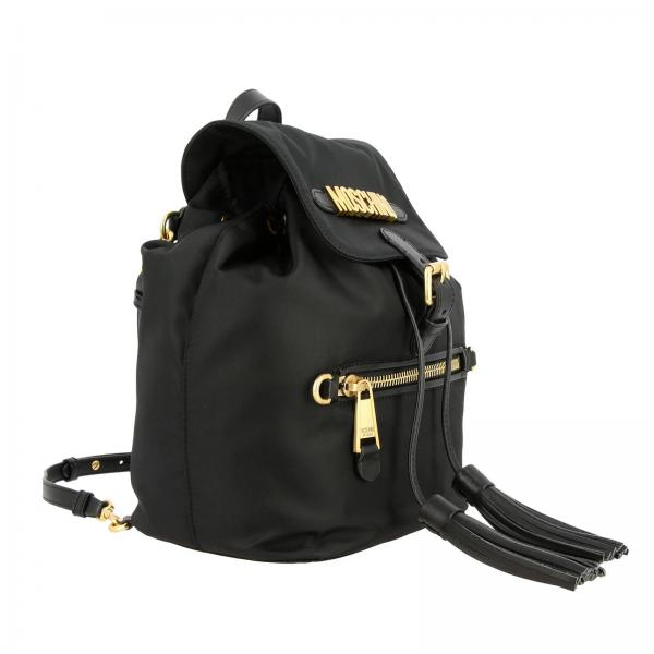 Moschino Couture Maxi Nylon Con Zaino 8202 7603 Donna NeroIn Lettering Metallico D2H9EWIY