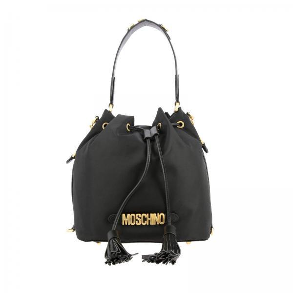 Borsa Moschino Couture a secchiello in nylon con lettering metallico