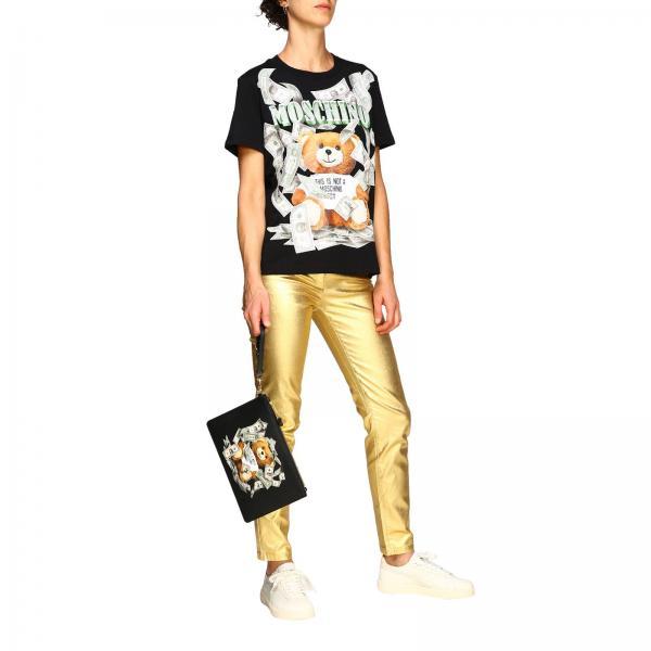8444 Teddy Clutch Con In Pelle Dollaro Stampa CouturePochette Donna 8210 Moschino Sintetica BrdCxoWe