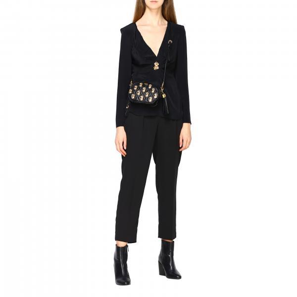 Borsa Mini Dollari 7553 Con 8002 Donna Moschino Pelle Couture NeroIn Metallici QrxshdCBt
