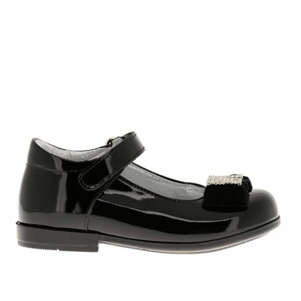 Monnalisa ballet flats in patent leather with maxi velvet bow and rhinestone monogram