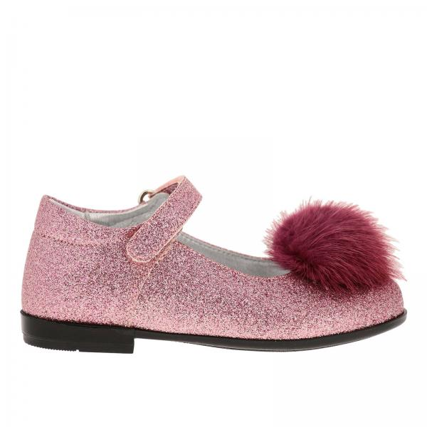 Monnalisa 毛球装饰亮片鞋面芭蕾舞鞋