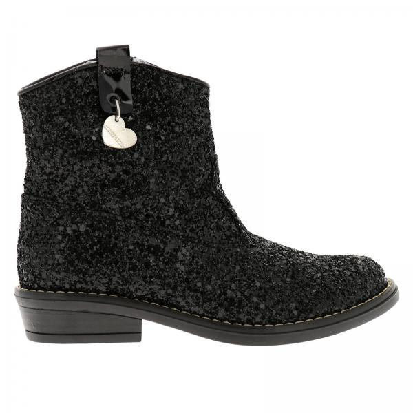 Monnalisa Texan boots in glitter fabric