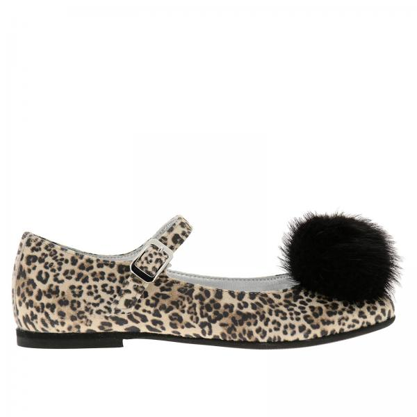Monnalisa ballet flats in animalier fabric with maxi pompoms