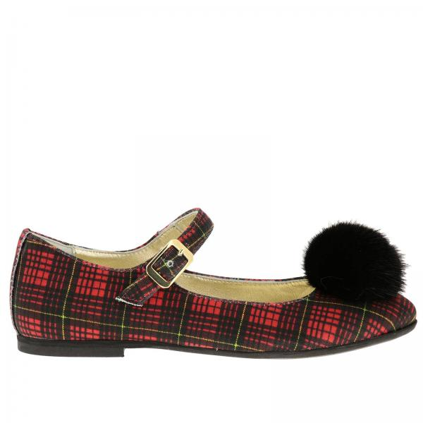 Monnalisa ballet flat in tartan fabric with maxi pompoms