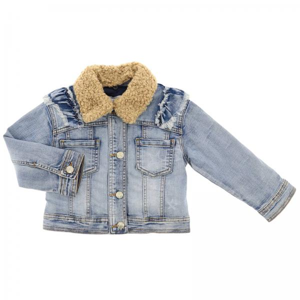 Denim con collo pelliccia e patch jerry dietro