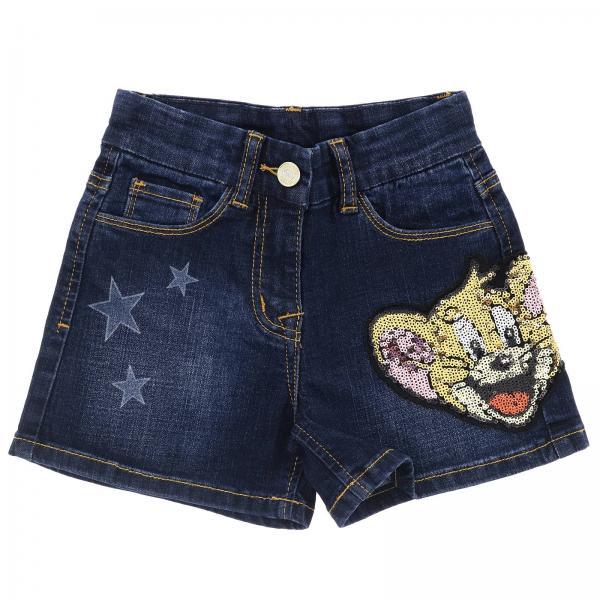 Short en jean Monnalisa slim en denim usé avec taches Jerry et strass