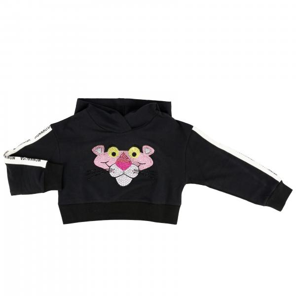 Monnalisa cropped sweatshirt with hood and rhinestone Pink Panther