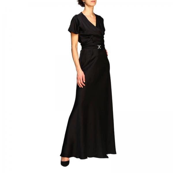 Alberta Ferretti long dress with rhinestone buckle