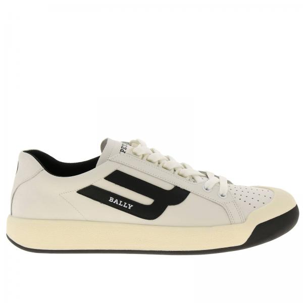 Sneakers New competition Bally en cuir avec micro trous et maxi logo