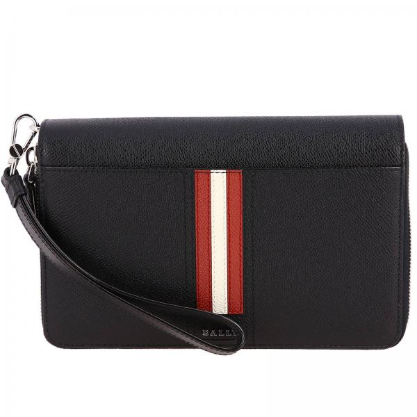 Porte-documents Tinger.lt en cuir texturé avec bande trainspotting Bally