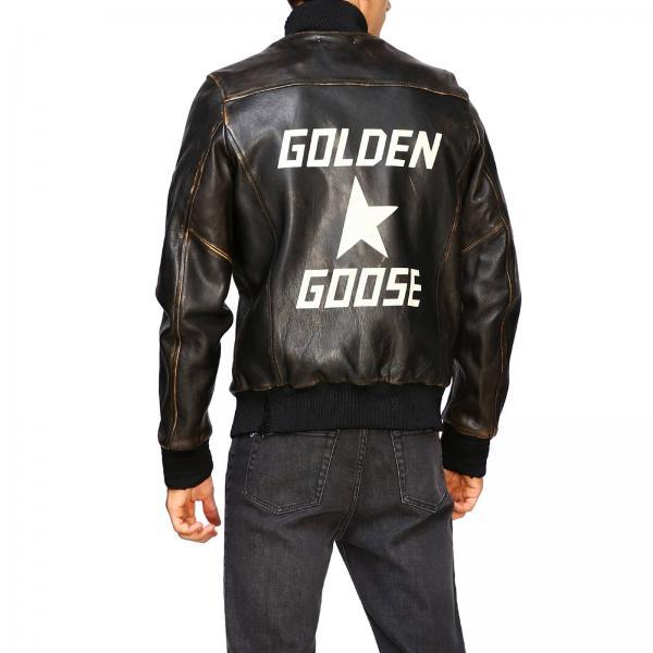 Pelle Giacca Con NeroBomber Uomo Dietro Golden A1 G35mp534 Goose Logo MqUVzSp