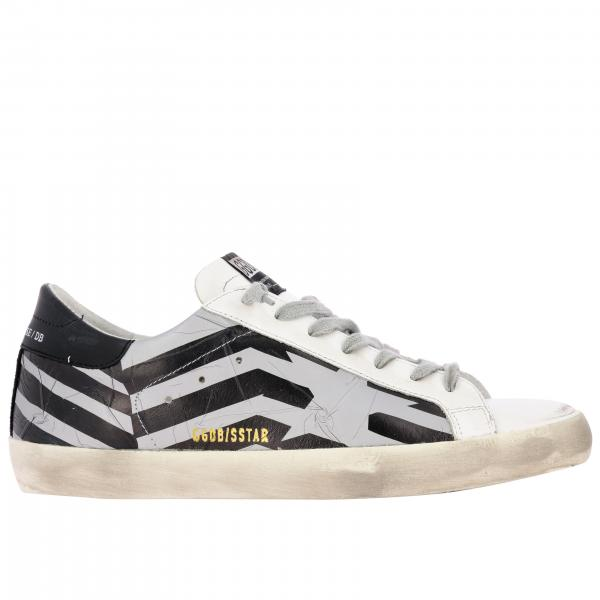 Sneakers Superstar Golden Goose in camoscio e pelle stampata a righe