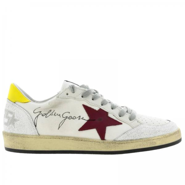 Ballstar Golden Goose leather and canvas sneakers with maxi lettering