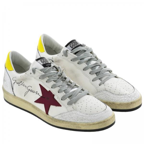 Sneakers Uomo Golden Goose Bianco   Sneakers Ballstar Golden Goose In Pelle E Canvas Con Maxi Firma   Sneakers Golden Goose G35ms592 Z2