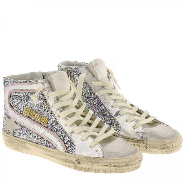 Camoscio G35ws595 A Sneakers Polacco Laminata Donna Goose Stella E A38 Glitter Con Banda Golden In ArgentoSlide Tessuto H9Y2EIWD