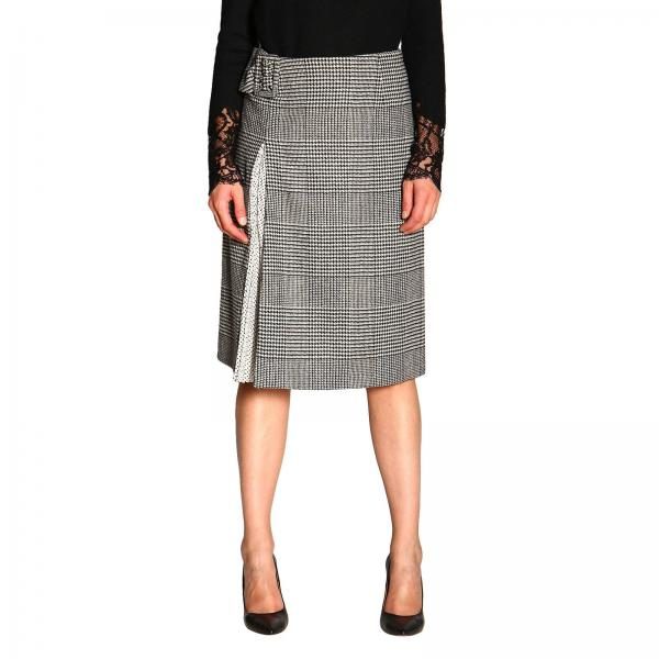 Ermanno Scervino skirt in Prince of Wales fabric with polka dot slit
