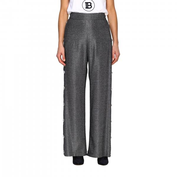 Wide Balmain pants in lurex knit with jewel buttons