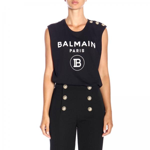 Sleeveless Crew Neck Top With Maxi Balmain Crest And Jewel Buttons by Balmain