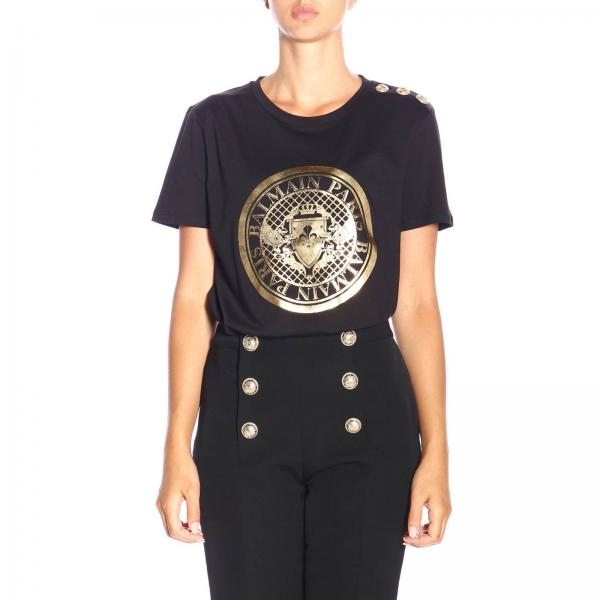 Crew-neck T-shirt with Balmain crest and jewel buttons