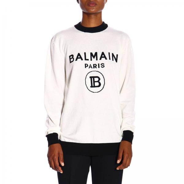 Crewneck sweater with maxi Balmain Paris jacquard logo