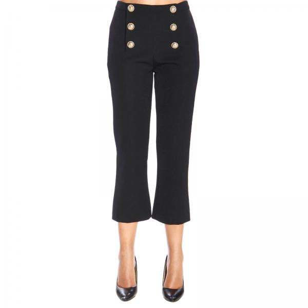 Balmain wool trumpet trousers with jewel buttons