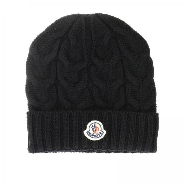 Cappello a berretto in lana intrecciata con risvolto e logo Moncler