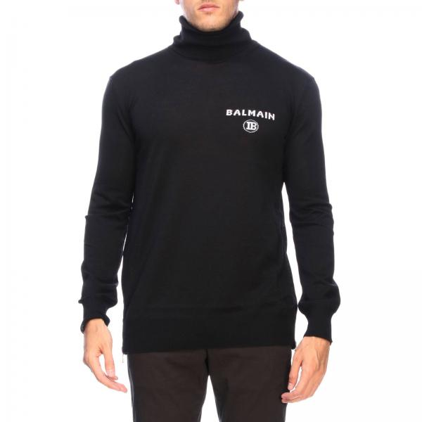 Balmain turtleneck jumper with logo and zip