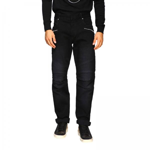 Balmain slim stretch denim biker jeans with logo