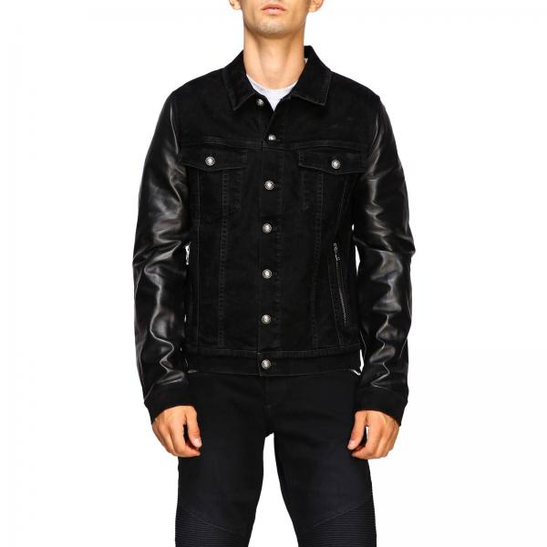 Denim jacket with leather sleeves and Balmain logo